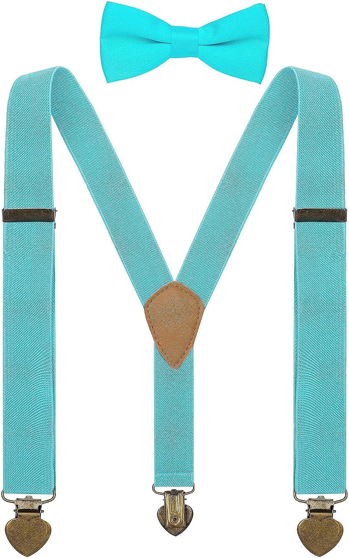 YJDS Boys Suspenders and Bow Tie Set Y Back Vintage 3 Clips