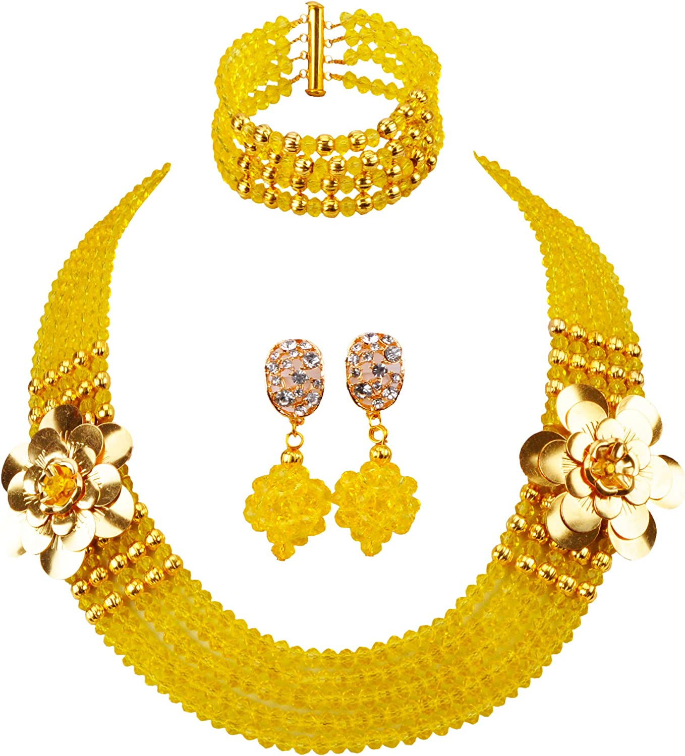 aczuv Costume African Jewelry Set for Womens Nigerian Beads Necklace Bracelet Earrings Sets Wedding Party Gifts