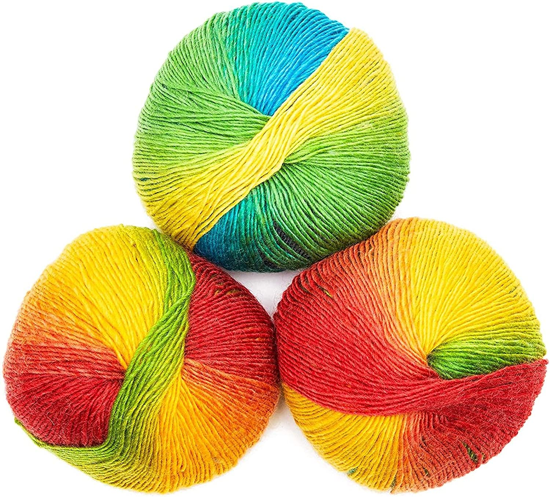 Soft Acrylic Yarn for Crocheting in Rainbow Colors (3 196-Yard Skeins)