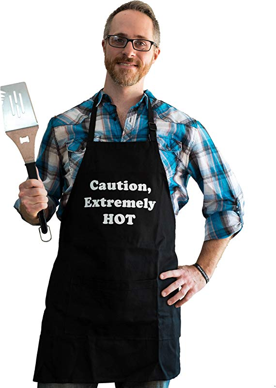 BBQBud Men S Fun Grilling Apron Caution Extremely HOT Black