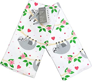 Casaba Whimsical Sloth Mom & Baby Set of Two Decorative Novelty Kitchen Hand Towels 18