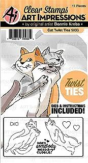 Art Impressions 5033 Twist Ties Stamp & Die Set-Cat