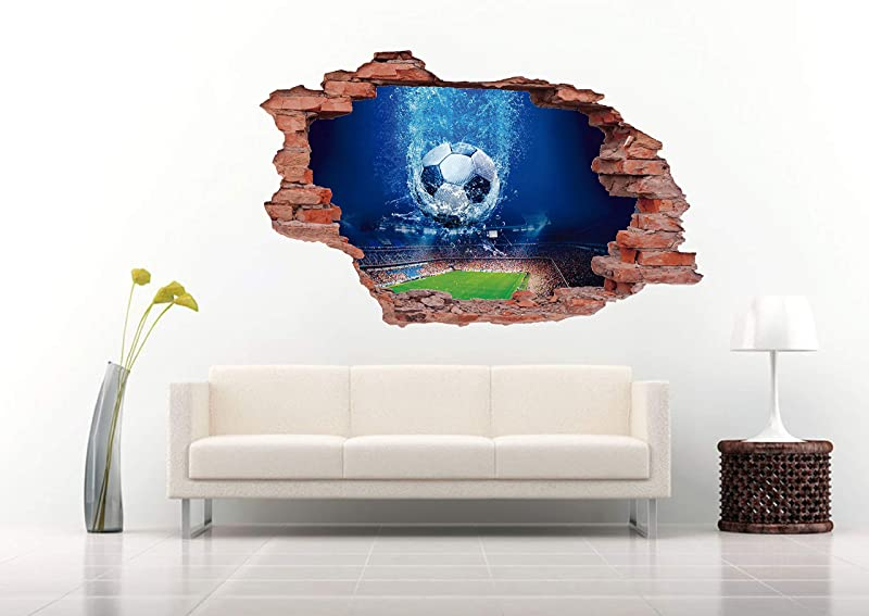 3D Soccer Stadium With A Ball Wall Decal Vinyl Sticker Decor For Home Bedroom Children