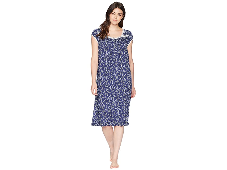 Eileen West Waltz Nightgown Cap Sleeve (Indigo/Print) Women