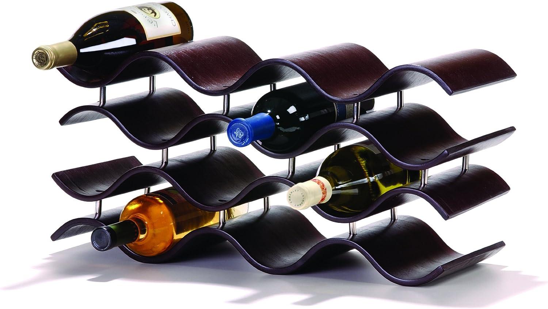 Oenophilia Bali Wine Rack, Ebony - 12 Bottle, Solid Wood, Elegant Modern Wine Rack, Table Wine Storage (010200)