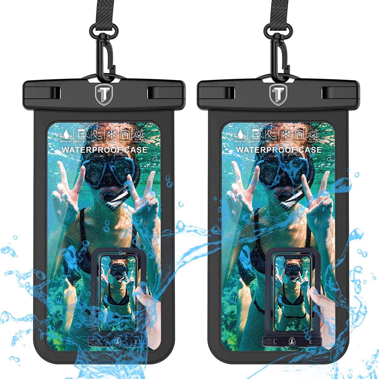 Universal Waterproof Case, 2-Pack Tekcoo IPX8 Phone Black Pouch Dry Bag Compatible with iPhone 11 12 Pro Max/Xs Max/XR/X & Galaxy Note 20/S21 Ultra/S20+/A71/A02S/A42/A52/A32/A21/A12/A01 & Up to 6.9