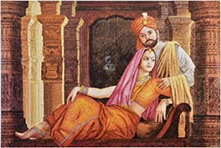 Texture Coated Painting of Indian Royal Couple Fine Print Paper Poster Big Without Frame Multicolor(24 X 36 Inches)
