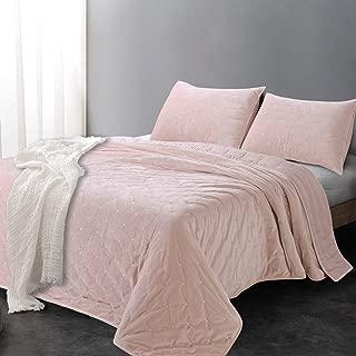 Sleeping Partners AQTKEM004 Luxe Embroidered Dot Microfiber Velvet 3 Piece Quilt Set, King, Blush Pink