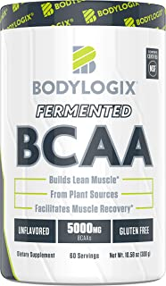 Bodylogix Fermented BCAA Powder, NSF Certified, Unflavored, 300g