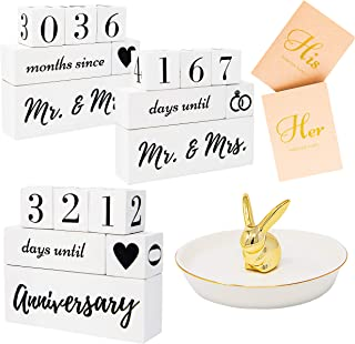 Engagement Gifts For Couples and Her, Bride To Be | Wedding Countdown Calendar Block | Mr. and Mrs. Ring Holder Dish | His And Hers Vow Books For Future Engaged Women Wifey Mrs | Party Decorations
