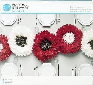 Martha Stewart Crafts 44-10217 Tissue Pom-Pom Kit, Deep and White Chrysanthemum Flowers, Red