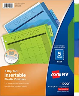 Avery Big Tab Insertable Plastic Dividers, 5 Multicolor Tabs, Case Pack of 24 Sets (11900)