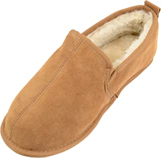 SNUGRUGS Men's Genuine Sheepskin Slipper with Suede Sole