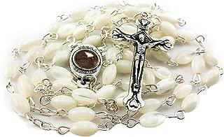 Nazareth Store Mother of Pearl Catholic Rosary Jerusalem Holy Soil Medal and Cross Holy Land Velvet Bag