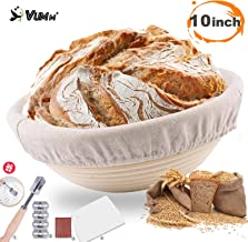Bread Proofing Baskets, Vumm 10in Sourdough Banneton Hand-made Baking Bowl Brotform Bread Dough Nature Round Rattan Basket...