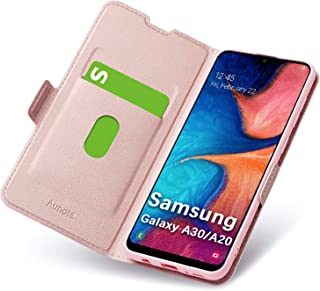 Aunote Samsung Galaxy A30/A20 Flip Case with Card Holder, Magnetic Closure, Kickstand, Ultra Slim Leather Wallet, Folio Notebook, Hard PU Soft TPU Full Cover, Fully Protection A30/A20 Phone. Rose Gold