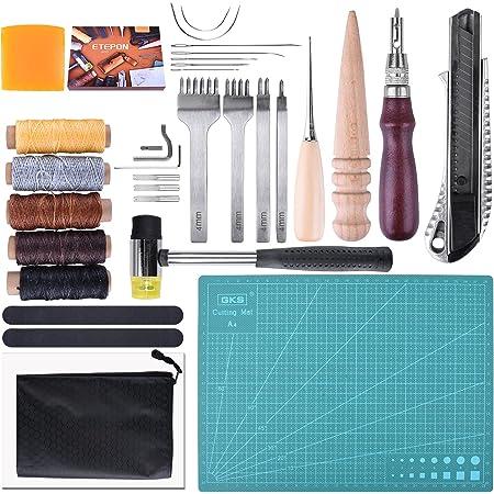 ETEPON レザークラフト 工具 セット 初心者 キット 皮 革 手縫い 革細工 DIY 手作り NC61-2