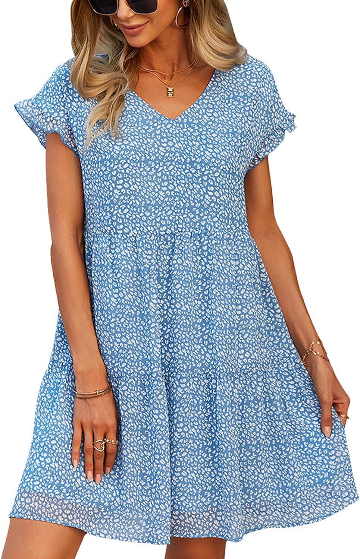 Theenkoln Women Tunic Dress V Neck Short Sleeve Ruffle Floral Printed Casual Loose Flowy Swing Shift Dress
