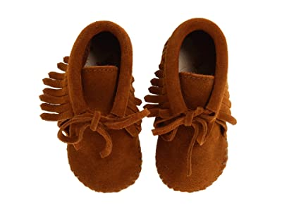 Minnetonka Kids Fringe Bootie (Infant/Toddler) (Brown Suede) Kids Shoes