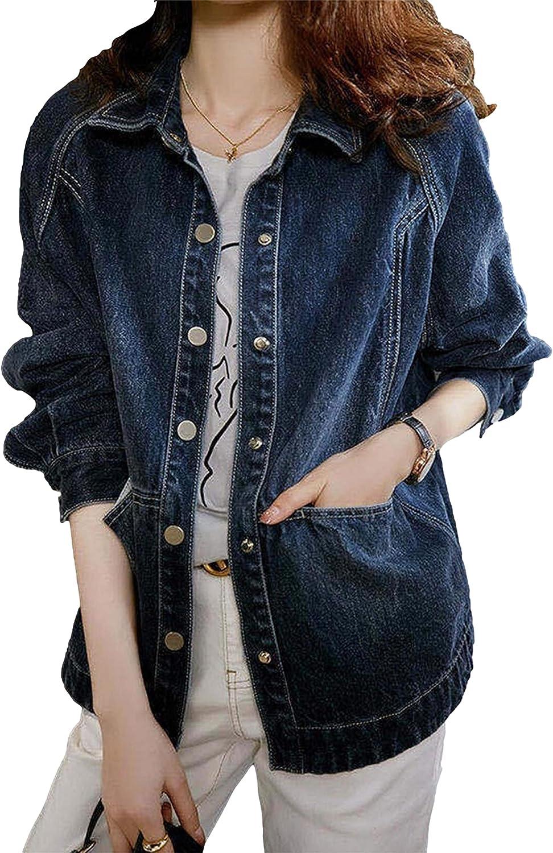 Zontroldy Women's Oversized Denim Jacket Casual Fashion Short Jean Coat Tops