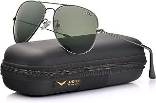 0e79bcfd683 LUENX Men Aviator Sunglasses Polarized - UV 400 Protection with case 60MM  Classic Style