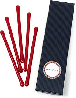 studioTica Simply Red - 5.5 inch - Reusable Handmade Glass Swizzle Stick For Champagne Martini Margarita Whisky - Set of 5 Glass Cocktail Stirrers + Elegant Gift Box