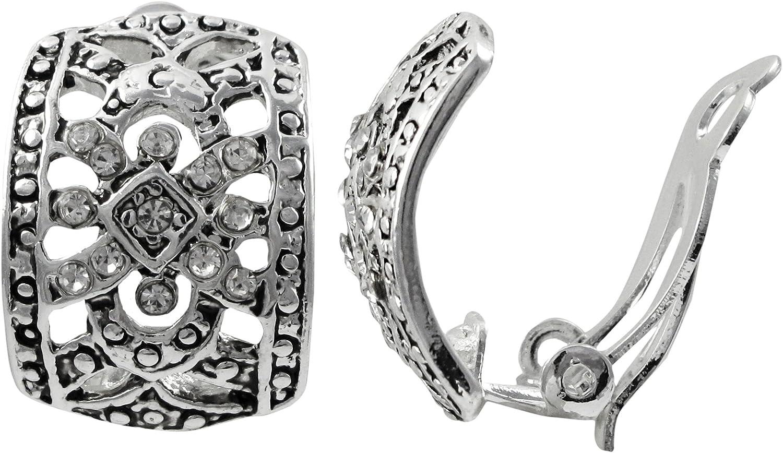 Isaac Kieran Rhodium Finish Pave Crystals Filigree Clip-on Earrings
