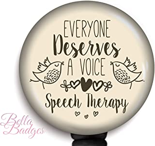 Everyone Deserves A Voice Speech Therapy Retractable Badge Holder with Swiveling Alligator Clip, 34 inch Retractable Cord, SLP ID Badge Reel