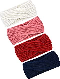 TecUnite 4 Pieces Chunky Knit Headbands Winter Braided Headband Ear Warmer Crochet Head Wraps for Women Girls
