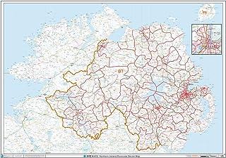 XYZ Postcode Sector Map–(S14)–Irlanda del Norte con revestimiento de plástico