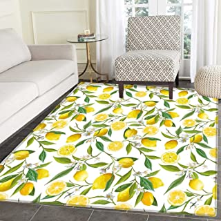Nature Customize Floor mats for Home Mat Exotic Lemon Tree Branches Yummy Delicious Kitchen Gardening Design Oriental Floor and Carpets 3'x5' Fern Green Yellow White