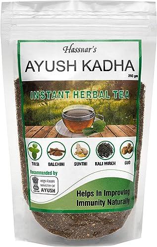 Hassnar Health and Pesonal Care Ayush Kadha Ayush Kwath Herbal Tea Powder 250 gm Natural Immunity Booster For Adults Immunity Drink for Kids Men Women