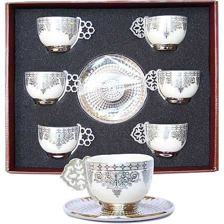 Traditional Turkish Style Tea Set 6 Embellished Glass Cups Saucers Teaspoons