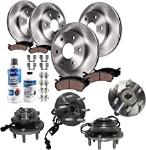 Detroit Axle Front & Rear Brake Rotors, Pads, Cleaner, Fluid w/Wheel Bearings & Hub Assemblies [14-PC Set] for 2003-2006 Ford Expedition, Lincoln Navigator [4WD, SUV's] - 14PRW1700182
