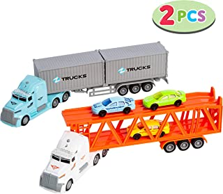 JOYIN Die-cast Truck Toy Set Includes Friction Freight Truck and Transport Car Carrier Truck with 3 Mini Toy Cars, Great Christmas Car Toys Gift for Kids