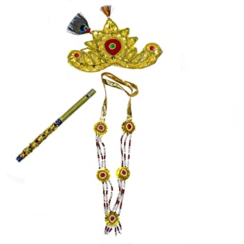 The Holy Mart Krishna Mukut Bansuri Mala Set - Large