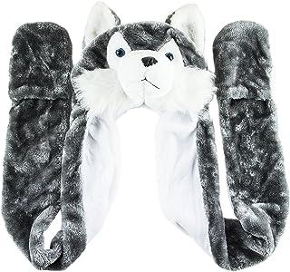 35120694498 Husky Timber Wolf Cute Plush Animal Winter Hat Warm Winter Fashion (Long)