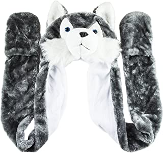 Husky Timber Wolf Cute Plush Animal Winter Hat Warm Winter Fashion (Long)
