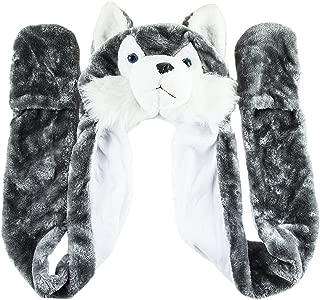 Husky Timber Wolf Cute Plush Animal Winter Hat Warm Winter Fashion (Long)