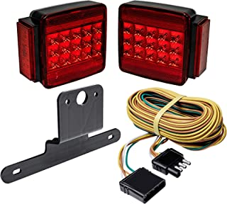 LED Trailer Tail Light Kit [34 High-Vis LEDs] [IP67 Submersible Waterproof] [DOT Approved] [Wiring Harness and Hardware Included] Side Marker Lights Side and Rear Reflectors License Plate Light