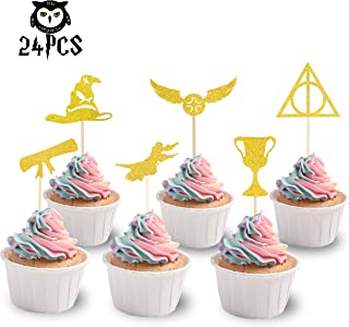 KAPOKKU Harry Potter Inspired Cupcake Toppers Harry Potter Wizard Birthday Party Decorations Supplies Hogwarts Party(Set of 24) (harry potter cupcake topper)