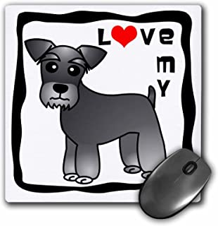 3dRose LLC 8 x 8 x 0.25 Inches Mouse Pad, I Love My Miniature Schnauzer Dog Banded Coat Salt and Pepper Red Heart (mp_40884_1)