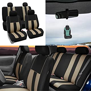 FH Group Striking Striped Seat Covers Airbag & Split Ready w. Free Air Freshener, Beige/Black Color- Fit Most Car, Truck, SUV, or Van