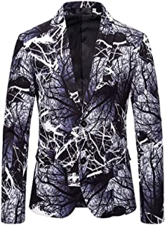 Men's Peak Lapel Printed Performance Blazer Slim Fit Two Buttons Suit Jacket Prom Party Tuxedos Blazer Spring Winter