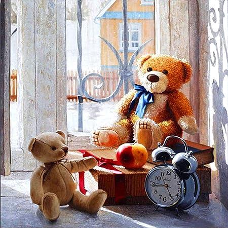 Diamond Painting Teddy Bears And Doll Design Lovely Portrait House Decor Display