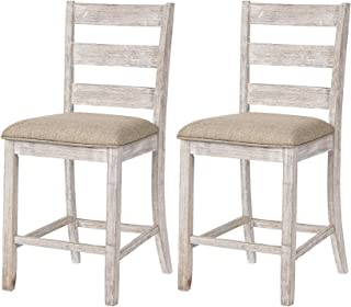 Signature Design By Ashley - Skempton Upholstered Barstool - Set of 2 - Casual Style - Two-tone