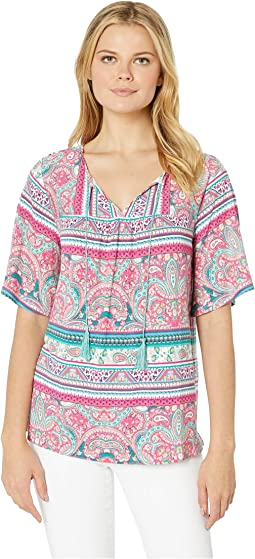 Printed Jersey 3/4 Flutter Sleeve Top