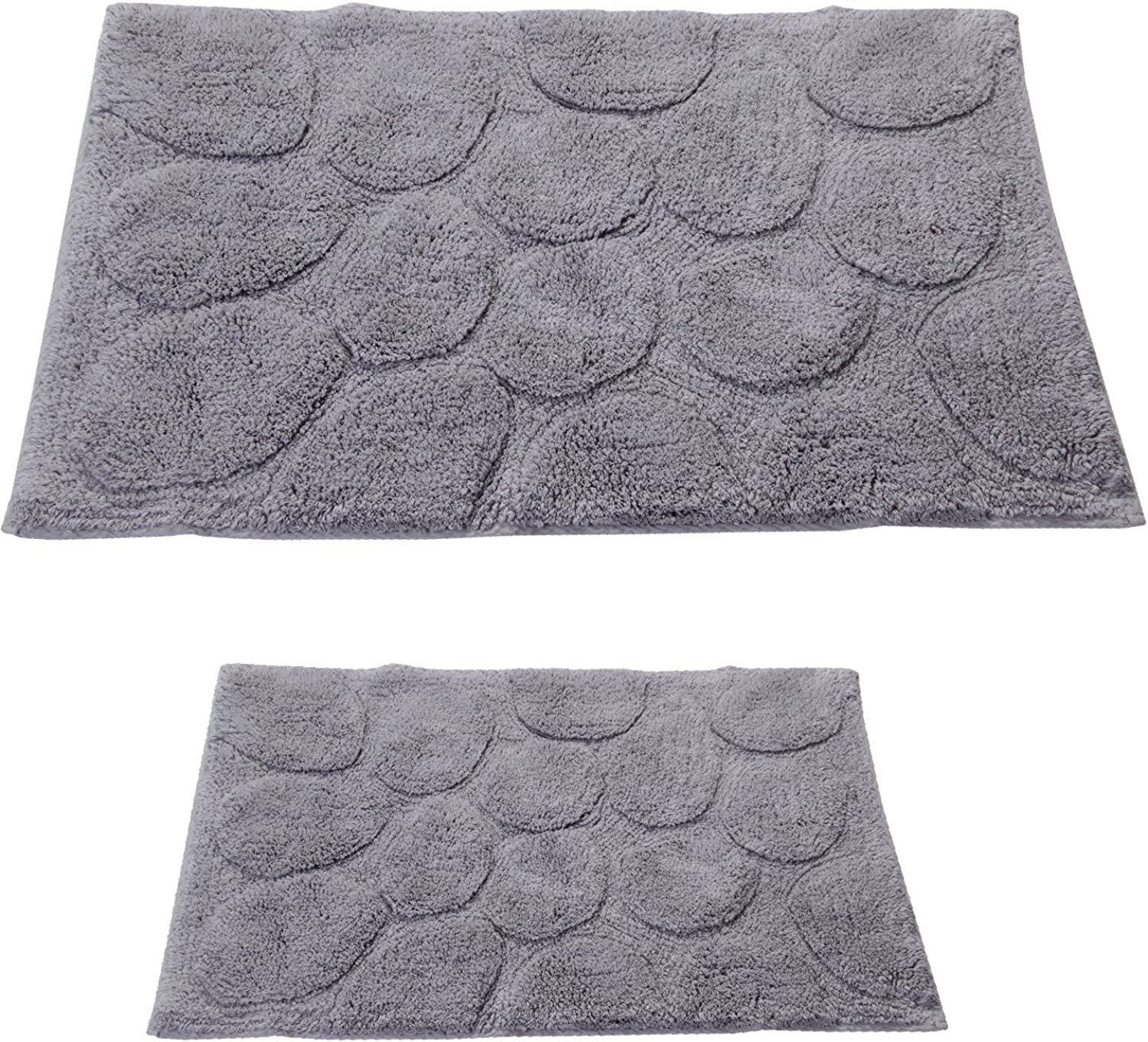 Castle Hill 2-Piece Palm Bath Rug, Silver, 17 by 24-Inch and 24 by 40-Inch