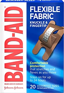 BAND-AID Flexible Fabric Bandages Knuckle & Fingertip 20 Each ( Pack of 2)