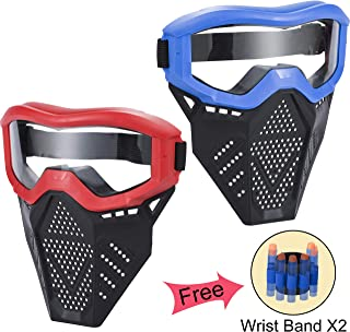 MeimoS 2 Pack Tactical Face Shield Mask Protective Goggles – Eye Protection for Kids Red and Blue - Compatible with Nerf Rival, Apollo, Zeus, Khaos, Atlas, Artemis, and N-Strike Elite Blasters